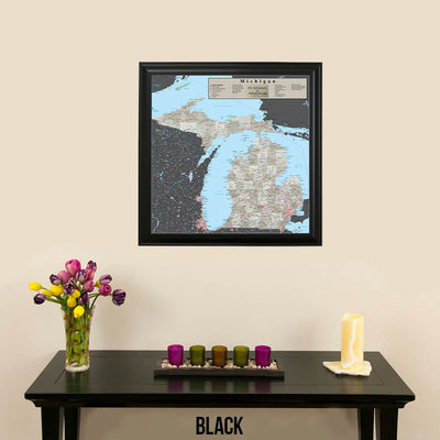 Earth Toned Michigan Travel Map Black Frame