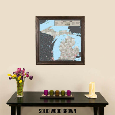 Earth Toned Michigan Travel Map Solid Wood Brown Frame