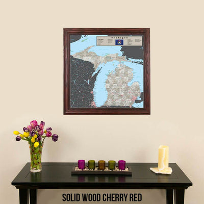 Earth Toned Michigan Travel Map Solid Wood Cherry Frame