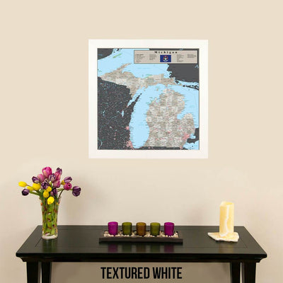 Earth Toned Michigan Travel Map Textured White Frame