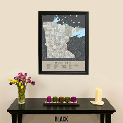 Earth Toned Minnesota State Map with Pins Black Frame
