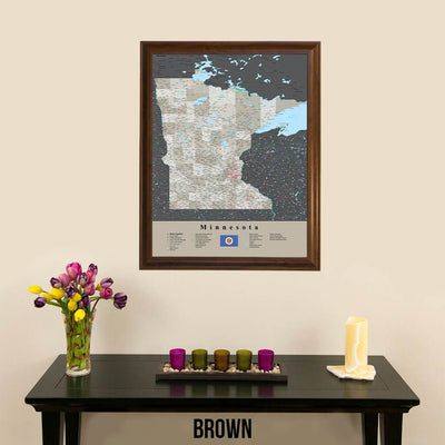 Earth Toned Minnesota State Map with Pins Brown Frame