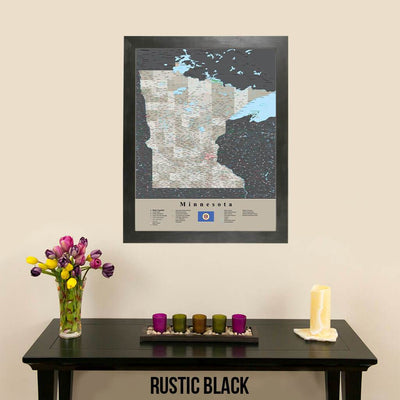 Earth Toned Minnesota State Map with Pins Rustic Black Frame