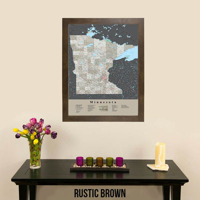 Earth Toned Minnesota State Map with Pins Rustic Brown Frame