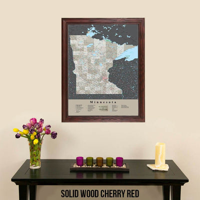 Earth Toned Minnesota State Map with Pins Solid Wood Cherry Frame