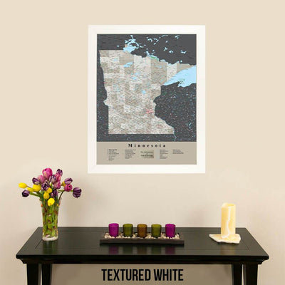 Earth Toned Minnesota State Map with Pins Textured White Frame
