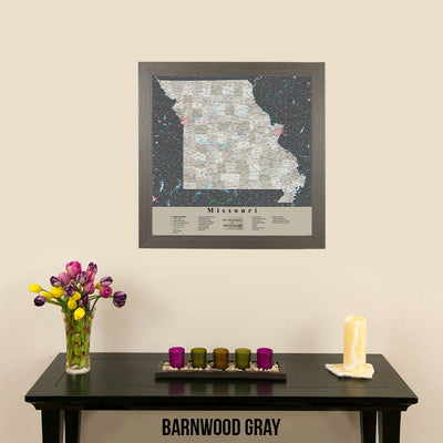 Earth Toned Missouri Push Pin Map with pins Barnwood Gray Frame