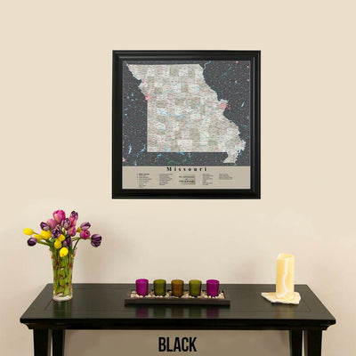 Earth Toned Missouri Push Pin Map with pins Black Frame