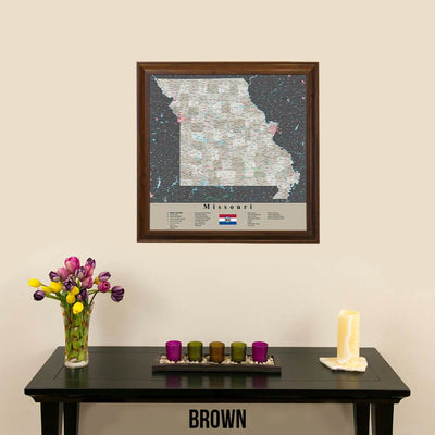 Earth Toned Missouri Push Pin Map Brown Frame