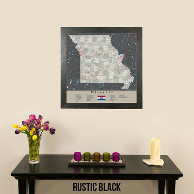Earth Toned Missouri Push Pin Map Rustic Black Frame