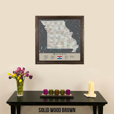 Earth Toned Missouri Push Pin Map Solid Wood Brown Frame