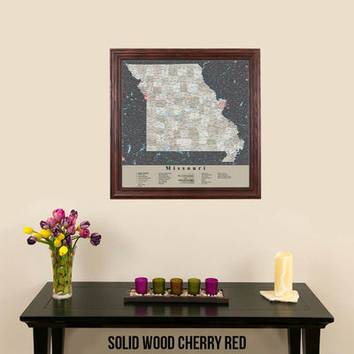 Earth Toned Missouri Push Pin Map Solid Wood Cherry Frame