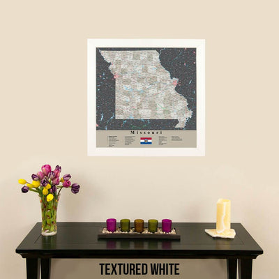 Earth Toned Missouri Push Pin Map Textured White Frame