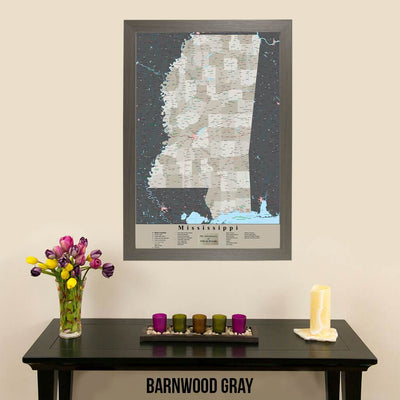 Earth Toned Mississippi State Travelers Map with Pins Barnwood Gray Frame
