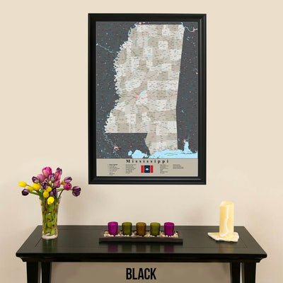 Earth Toned Mississippi State Travelers Map with Pins Black Frame