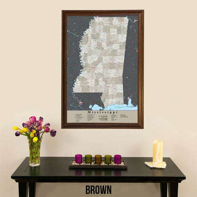 Earth Toned Mississippi State Travelers Map with Pins Brown Frame