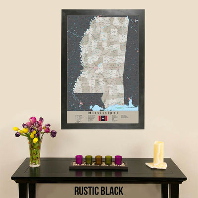 Earth Toned Mississippi State Travelers Map with Pins Rustic Black Frame