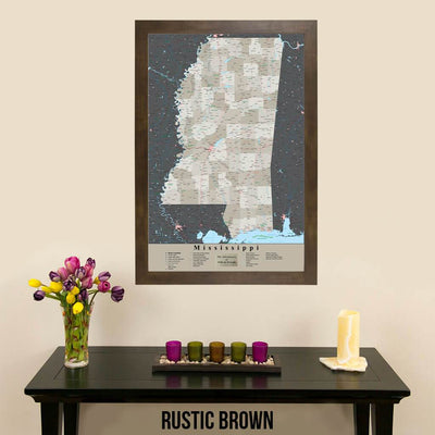 Earth Toned Mississippi State Travelers Map with Pins Rustic Brown Frame