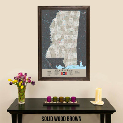 Earth Toned Mississippi State Travelers Map with Pins Solid Wood Brown Frame