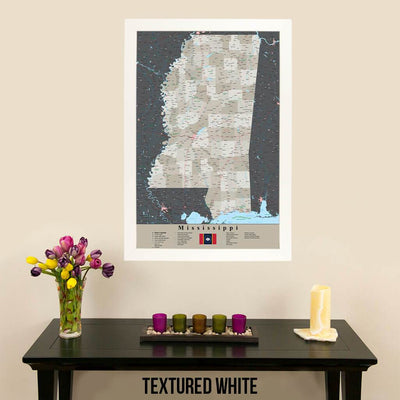 Earth Toned Mississippi State Travelers Map with Pins Modern Textured White Frame