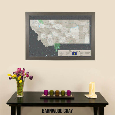 Earth Toned Montana State Push Pin Map Barnwood Gray Frame