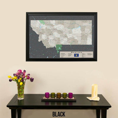 Earth Toned Montana State Push Pin Map Black Frame