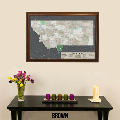 Earth Toned Montana State Push Pin Map Brown Frame