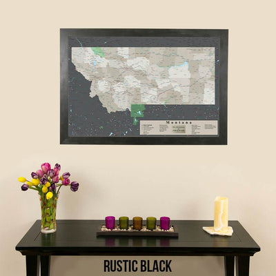 Earth Toned Montana State Push Pin Map Rustic Black Frame