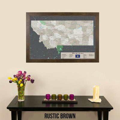 Earth Toned Montana State Push Pin Map Rustic Brown Frame