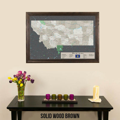 Earth Toned Montana State Push Pin Map Solid Wood Brown Frame