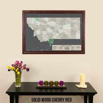 Earth Toned Montana State Push Pin Map Solid Wood Cherry Frame