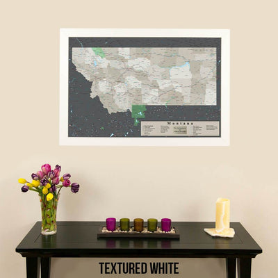 Earth Toned Montana State Push Pin Map Textured White Frame