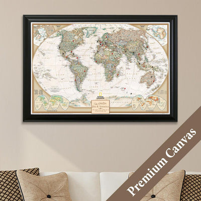 Executive World Push Pin Travel Map on Canvas