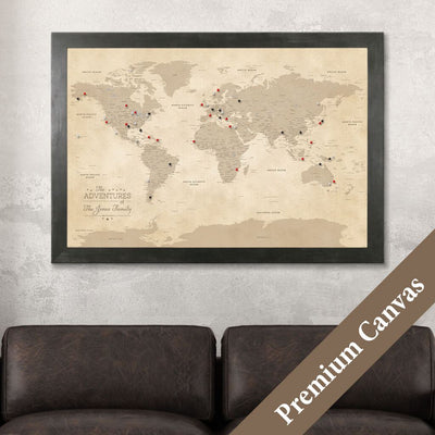 Vintage World Map on Canvas with Pins