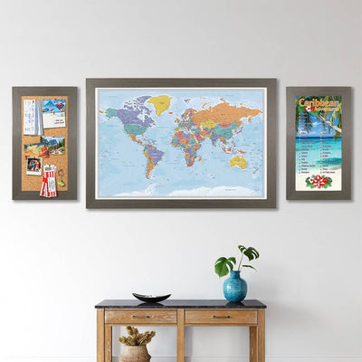Memo Board Barnwood Gray with Blue Oceans World Map and Caribbean Bucket List