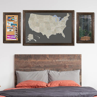 Memo Board in Solid Wood Brown Frame with Earth Toned US Map and Hiking in the US Bucket List