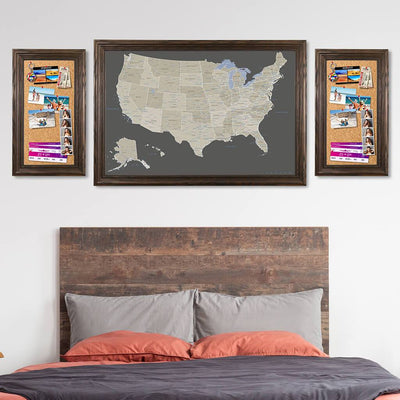 Memo Boards in Solid Wood Brown Frame with Earth Toned US Map