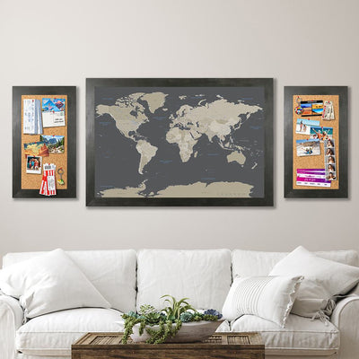 Memo Boards in Rustic Black with Earth Toned World Map