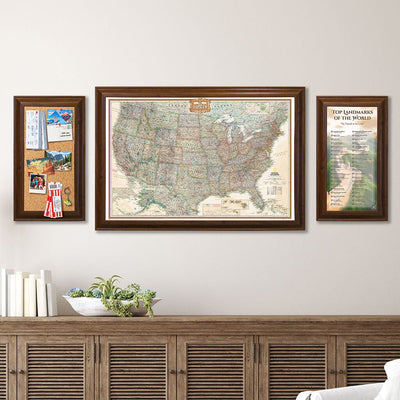 Memo Board in Brown Frame with Executive US Map and Top Landmarks Bucket List