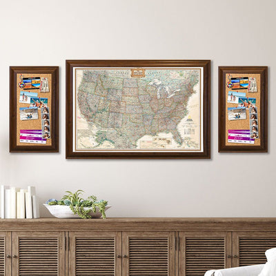 Memo Board in Brown Frame with Executive US Map