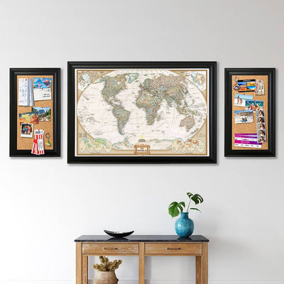 Cork Memory Boards with a Push Pin Travel Map in black frames