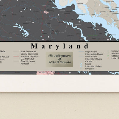 Earth Toned Maryland State Pin Map plaque location