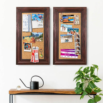 2 Pack Cork Memory Boards Solid Wood Cherry Frame