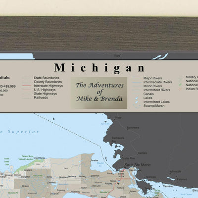 Earth Toned Michigan Travel Map Plaque Location
