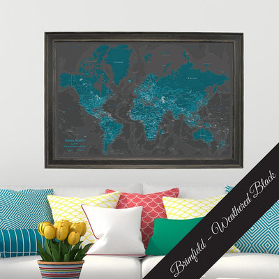 Canvas - Midnight Dream World Travel Map with pins