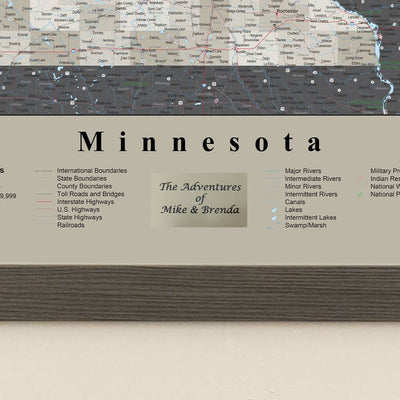 Earth Toned Minnesota State Map with Pins plaque location