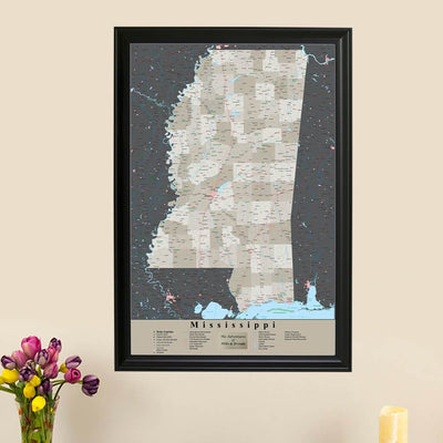 Earth Toned Mississippi State Travelers Map with Pins main picture