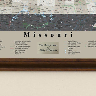 Earth Toned Missouri Push Pin Map Personalized Plaque Location