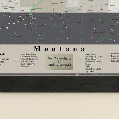 Earth Toned Montana State Push Pin Map Plaque Location