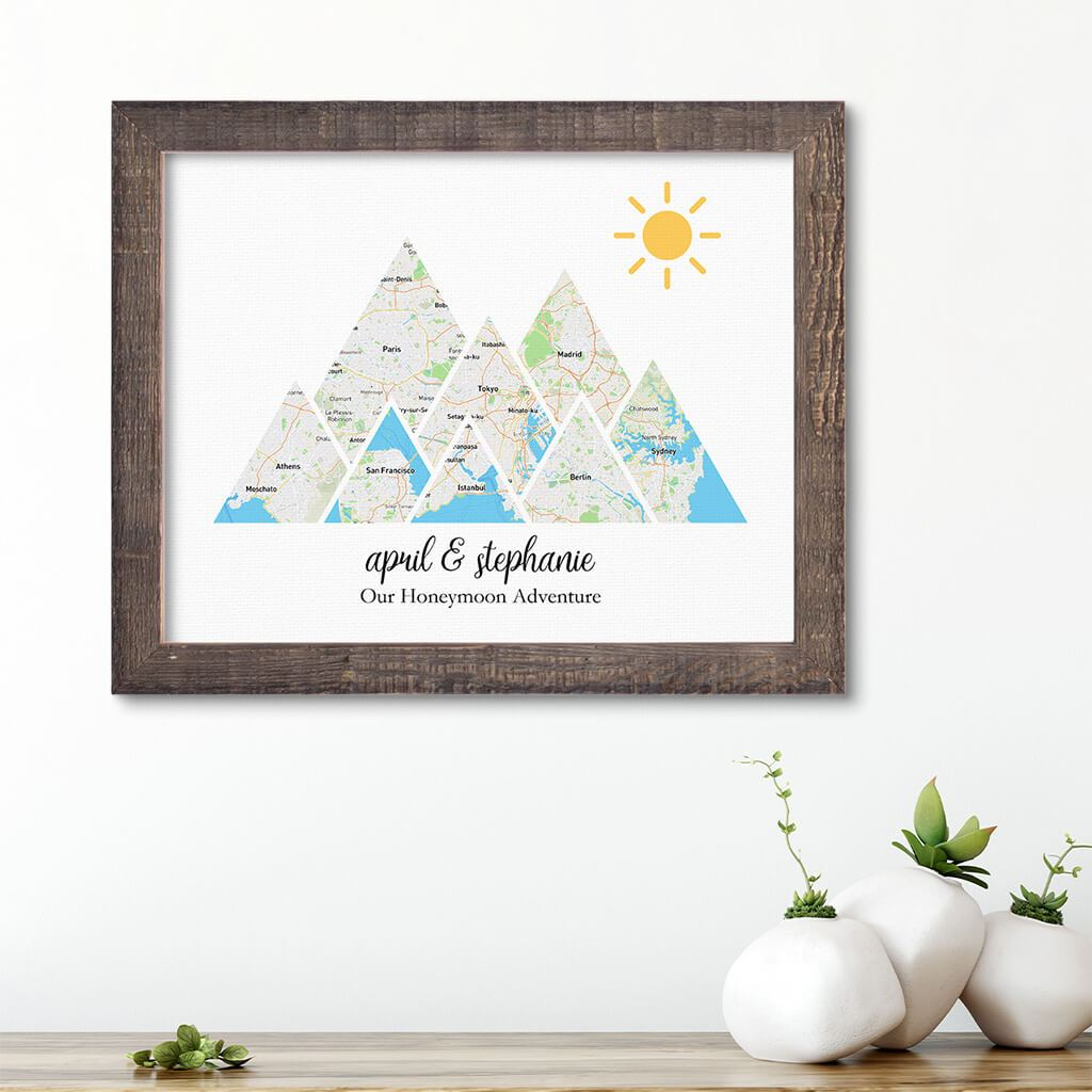 Mountain Map Art Option 1 in Madison Natural Frame